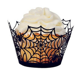 120pcs Laser Cut Creative Spider Net Cupcake Liners Wrappers Halloween Party Cupcake Decoration Festive Supplies H163