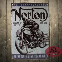 Wholesale Vintage home decor Norton motorcycle plaque art wall decor iron Paintings Bar shop Garage painting CM