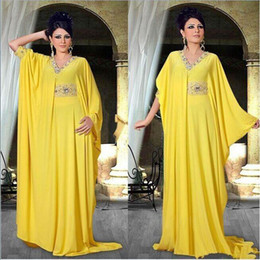 2016 New Arabic Style Yellow A-Line Beading Long Sleeve Chiffon Dubai Caftan Abaya Evening Dress Vestidos De Gala Robe De Soiree