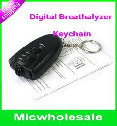Wholesale Mini portable Keychain breathalyzer Alcohol tester alcohol testing the Breath Digital Analyzer LCD light