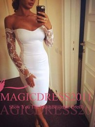 Little White Cocktail Dresses Short Party Prom Gowns 2019 Occasion Dress Sheath Off-Shoulder Long Sleeve Knee-Length Homecoming Arabic