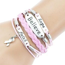 Wholesale Pink Multilayer Braided Bracelets Antique Silver Faith Hope Believe Charm Bracelet Woven Leather Bracelet Bangle For Women