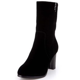 Wholesale ENMAYER Big Size Advanced Flock Nubuck Leather Mid Calf Round Toe Square High HeelBoots For Women Black New Fashion Boots