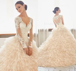 Wholesale 2016 Lace Long Sleeves Luxurious Arab Wedding Dresses V neck Beaded Tiers Tulle Wedding Gowns Stunning Bridal Dresses A26