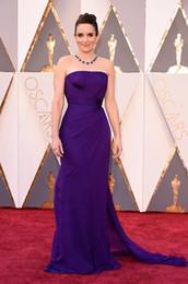 Tina Fey 2016 Oscar Red Carpet Celebrity Dresses Sheath Strapless Ruched Sweep Train Chiffon Prom Dresses