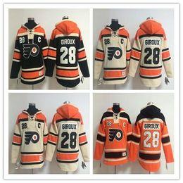 2016, Retail Factory Price Cheap Old Time Men's Hockey Jersey Philadelphia Flyers #28 Claude Giroux Fleece Hoodie Jerseys Sew