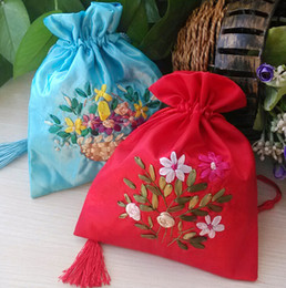 Free Ship 20pcs Handmade High quality 13*17cm 17*21cm Embroider Brocade Brocart Bag Jewelry Bags Candy Beads Bags Wedding Party Gift Bags