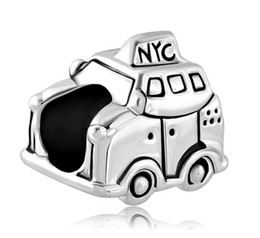 Wholesale Large Hole Silver Plated New York City Taxi Car European Charm Spacer Metal Bead Fit Pandora Bracelet