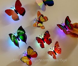 Colorful Butterfly Night light LED Butterfly For Wedding Room Night Light Party Decoration Wall Lights Stick Discretionarily