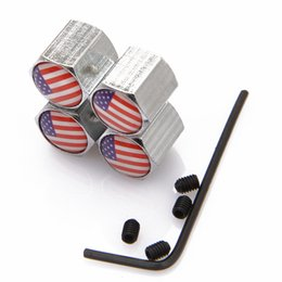 Wholesale Lockable American Flag Anti Theft Dust Cap Tire valve caps With Car Logo Badges Emblems American Flag With Retail Box SZYX