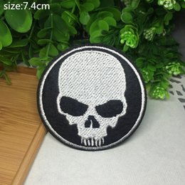 Wholesale 7 cm cm skull embroidered Iron Quality Appliques DIY Hat garment bag patches