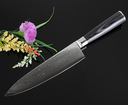 Wholesale Professional micarta damascus kitchen knives inch VG10 chef knife layers damascus steel cheung moire wave cooking tools