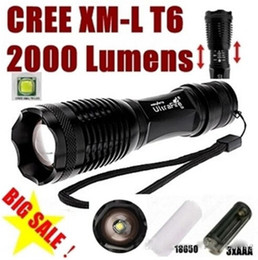 UltraFire E007 CREE XM-L T6 2000Lumens 5 Mode cree led Torch Zoom LED Flashlight Torch For 1x18650 - Free shipping