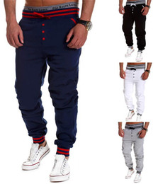 2016 NEW Men joggers sweat pants loose casual elastic waist pants famous brand Men's single-breasted solid color Cotton joggers for men