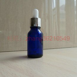 15ml blue Glass Essential Oil Bottle With aluminum shiny silver dropper cap. Oil vial, Essential Oil Container