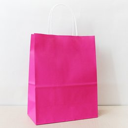 21*15*8cm Rosy Paper Shopping Bag With Handle,130gsm Kraft Paper Bag, Can OEM Customized Printing Logo
