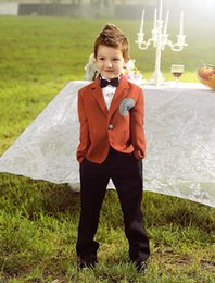Four Pieces Luxurious Coffee Ring Bearer Suits trend Boys Tuxedo With Black Bow Tie kids formal dress boys suits fashion kids suits
