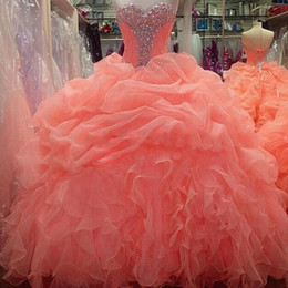 2015 Coral Quinceanera Dresses masquerade Ball Gowns Sweetheart with Ruffles Organza Crystal Beading Sweet 16 Dresses Formal Prom Gown QS53