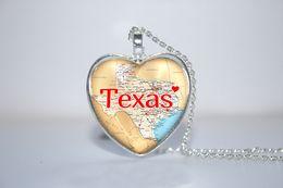 Wholesale 10pcs Texas Pendant Texas Necklace State Heart Necklace God Bless Texas heart Necklace Glass Photo Cabochon Necklace