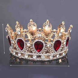 Wholesale Silver Queen Crown - King Queen Crown Simulated Red Ruby Stone Sapphire Water Drop Tiaras Women Girl Hair Decoration New Arrival