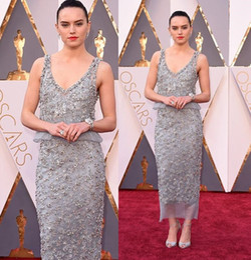 Luxury 88th Academy Awards Oscars 2016 Celebrity Dresses Crystal Beading Sheath Formal Evening Dress Tea Length Formal Prom Dress