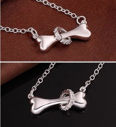 Wholesale Paw silver necklace sterling silver fine dog bone Tag rolo chain inch Pendant necklace Doggie Puppy Pet
