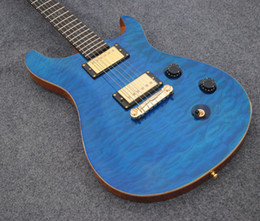 Free shipping blue quilted top electric guitar,high quality guitar