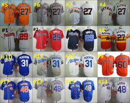 Wholesale 27 Jose Altuve John Smoltz Jacob DeGrom Baseball Cool Base Jerseys Authentic Stitched Jersey Softball Sportswear