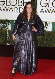 Vêtements sexy taille 16 femmes en Ligne-2016 Plus Size Red Carpet Celebrity Dresses Golden Globe Awards Party Prom robes col V Poet Manches longues Femmes Formal Vêtements Slit Side