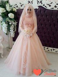Wholesale Crystal Neck Tie - 2015 Pakistani Evening Dresses Pink Wedding Dress A Line High Neck Sequins Bodice Bow Tie Long Sleeves Bridal Gown Dubai Wedding Dresses