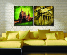 2 Pieces Free shipping Painting Art Picture Paint on Canvas Prints Old house Steam train automobile red lantern White House Old world map