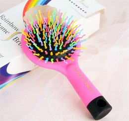 2017 Rainbow Volume Hair Brush Multi Color Magic Hair Styling Tool Hair Brush Comb With Mirror free shipping DHL