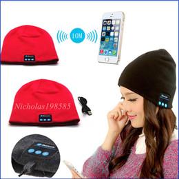 Wholesale To Hot Men Women Soft Winter Beanie Hats Wireless Bluetooth Smart Cap Headphone Headset Speaker Mic Headgear Knitted Cap More Colour