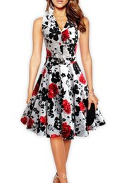 50S 60S Audrey Hepburn Dress 2016 Summer Floral Printed Rockabilly Big Swing Dresses Vintage Sleeveless Turn Down Collar Dress