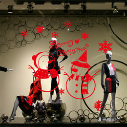 Wholesale Christmas Window Stickers Wallpaper Rolls Removable Stickers Hotel Shopping Glass Sliding Door Shop Christmas Snowman Sticke