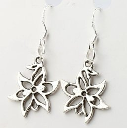 Wholesale 40pairs x37 mm Antique Silver Hollow Lucky Flower Charm Earrings Silver Fish Ear Hook Chandelier E312