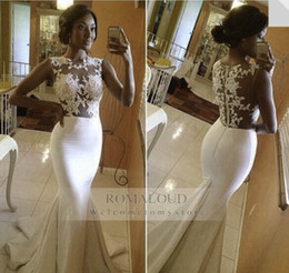 Wholesale 2015 Sexy Haute Couture White Ivory Wedding Dresses Sheer Lace Mermaid Crew Neck Sleeveless With Satin Sweep Train Bridal Gowns Bride Dress