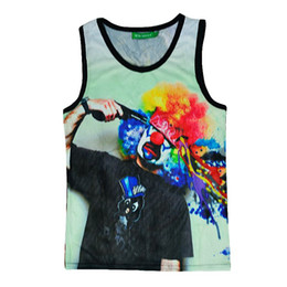 2015 Sleeveless Top Men Harajuku Summer Women Mens 3D Tank Tops Graphic Print a Clown Shot Himself Suicide Novelty Vest Tops