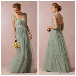 Cheap Sage Convertible Dress Bridesmaid Dress Tulle Removable Strap Long Sweetheart Formal Dresses Cheap 2019 BHLDN Wedding Party Dress