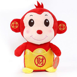 Wholesale 2016 Ingot Monkey Toys Chinese Festival quot Cai quot Monkey Hanging Toys Red Chinese Treasure Monkey For Chinese New Year Gift LN