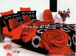Wholesale Excellent Bargains Designer red rose circle print black bedclothes bedding sets for queen size bed duvet cover sheet comforters
