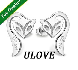 Wholesale Animate Jewelry Fox Silver Earrings Love Elegant Fashion Earrings for Women Cheap Earrings R694