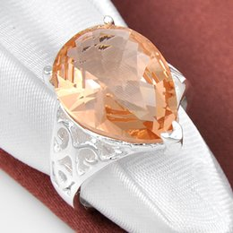 Wholesale Half Dozen Holiday Gift Jewelry Unique Drop Morganite Crystal Gems Russia Sterling Silver Plated USA Weddiing Party Ring