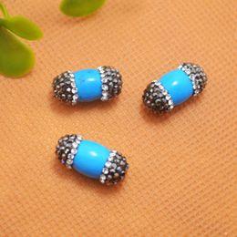 Druzy ~ 10pcs Turquoise Stone with Rhinestone Olive Shape Connector Beads For Making Bracelet