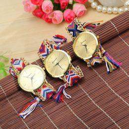 High Quality Hot Retro Geneva Watches Women Watches Fashion Wrist Watch Weave Quartz Watches Mix Colors Drop Free Shipping