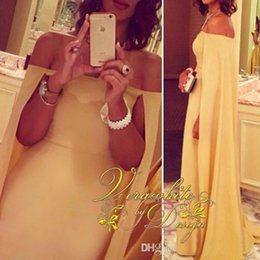 Gorgeous Yellow Prom Dresses Cloak Watteau Train Party Formal Evening Gowns Arabic 2016 Occasion Dress Sheath Off-Shoulder Celebrity Dresses