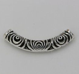 Wholesale Hot Tibetan Silver Hollow Curved Tube Spacer Beads x52 mm