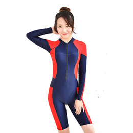 Wholesale 2016 New Sexy women wetsuits Patchwork Color diving suit slim lady One Pieces swimwears Girls Zipper Bodysuit Female Swimsuits