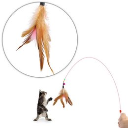 Wholesale 1pcs Pet toy Cute Design Steel Wire Feather Funny Teaser Wand Plastic Toy interactive toy for cats Color Multi Products For pet