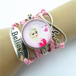 Wholesale Pink Frozen friendship infinity Bracelets Believe Love Sideways Charm Queen Elsa princess Anna infinity Wristband girls christmas gift